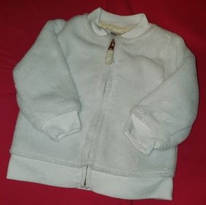 Fluffy white baby girls jacket